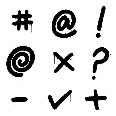 graffiti curse symbols sprayed isolated on white background. vector illustration.