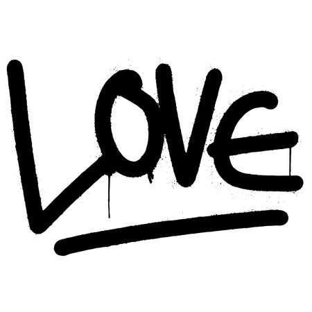 graffiti love word sprayed isolated on white background. vector illustration.