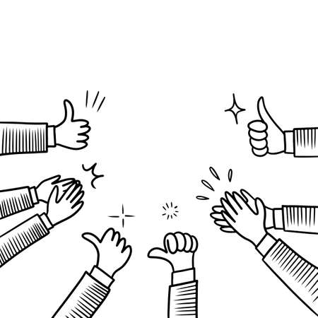 Hand Drawn sketch style of Human hands clapping ovation. applause, thumbs up gesture on doodle style. vector illustration.