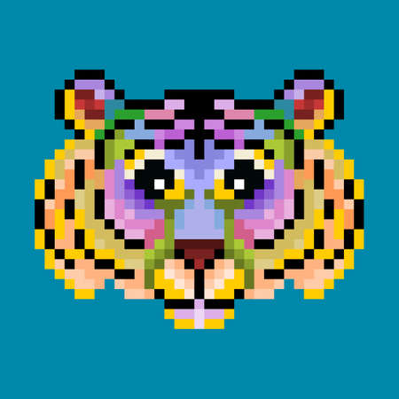 colorful cute pixel tiger isolated.vector illustration
