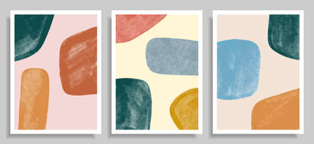 set of Creative minimalist hand painted. Abstract contemporary aesthetic backgrounds. Minimalist design. Abstract water color for social media, wall decoration, postcard or brochure design. Vector Illustration