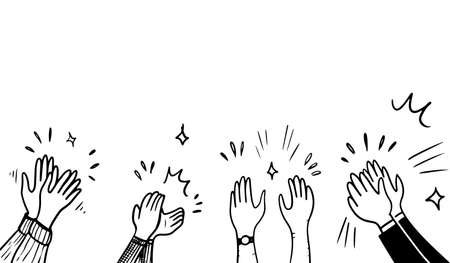 Hand Drawn sketch style of applause, thumbs up gesture. Human hands clapping ovation. on doodle style, vector illustration. Ilustración de vector