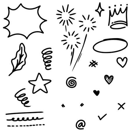hand drawn set of abstract doodle elements. use for concept design. isolated on white background. vector illustration