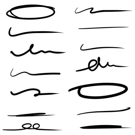 hand drawn line for marking text and circle marker set isolated on white background. vector illustration. Vetores