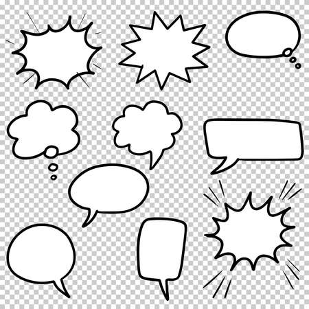 Hand drawn set of speech bubbles isolated . Doodle set element. Vector illustration. Vektorgrafik