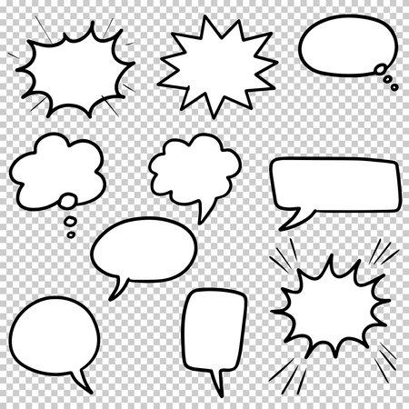 Hand drawn set of speech bubbles isolated . Doodle set element. Vector illustration. Ilustração Vetorial
