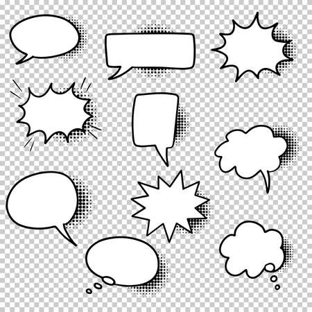 Hand drawn set of speech bubbles isolated with black halftone shadows on transparent background. Doodle set element. Vector illustration.