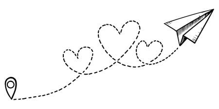 doodle paper plane icon. Hand drawn Paper plane with heart path. Love airplane route. vector illustration.