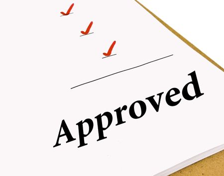 Approved status under a checklist isolated on white