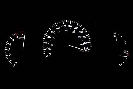 Speeding Car Gauge Display Isolated on Black