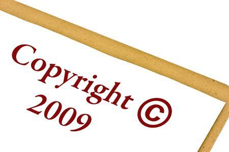 著作権 2009年シンボルをクリップボードに白で隔離されます。