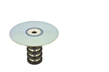 Disc on top of a circular pedestal stand Stock Photo