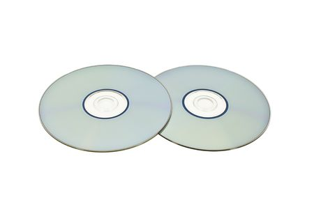 Two optical discs laid flat side by side isolated on white