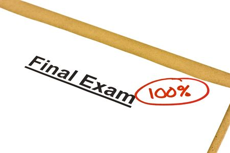 Final exam marked with 100% isolated on white.
