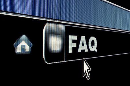 FAQ concept on an internet browser URL address