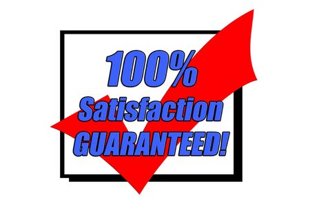 100% Satisfaction Guaranteed concept isolated on white Stock Photo