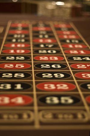 ラスベガスのカジノで撮影テーブル ボードをギャンブル ルーレット 写真素材