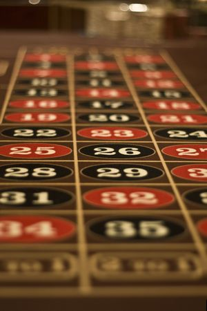 Roulette gambling table board photographed in Las Vegas Casino
