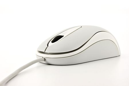 Close up of a white computer mouse