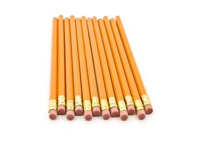 Pencils staggered and isolated on a white background