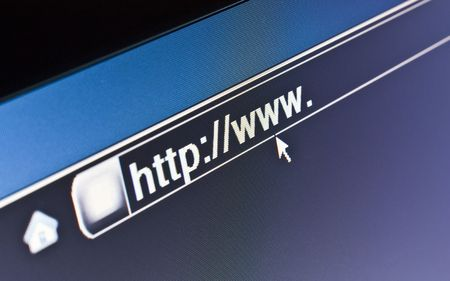 Internet browser on a HTTP URL address Stock Photo
