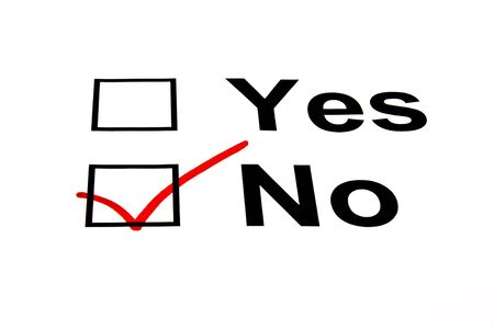 opinion: NO checkbox selected with red marker isolated on white