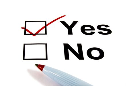 opinion: YES checkbox selected with red marker isolated on white Stock Photo