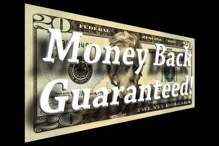 Money Back Guaranteed concept on a twenty dollar bill isolated on black