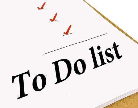 白で隔離チェック マークの付いたリストを行うに 写真素材