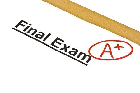 Prova finale contrassegnati con A + isolato su bianco Archivio Fotografico - 4932851