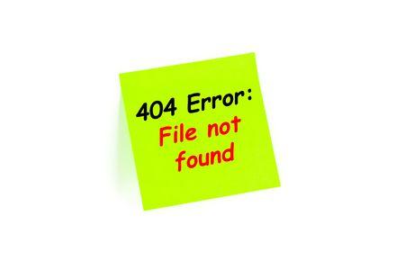 The phrase 404 Error: File Not Found on a note Archivio Fotografico