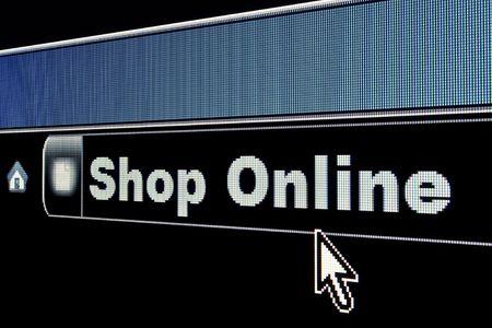 Shop Online concept on an internet browser URL address Archivio Fotografico