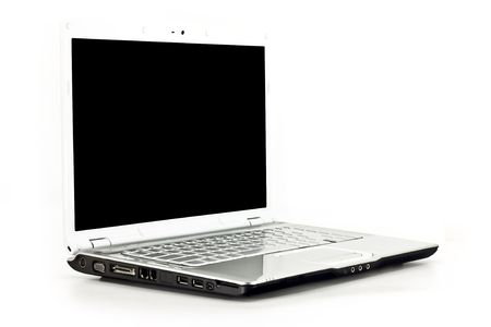 Front angled view of a laptop computer isolated on white Banco de Imagens