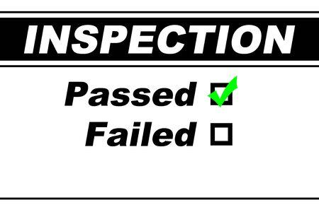 Risultati del report di ispezione pre-compilato con Superato scelto isolato su bianco Archivio Fotografico - 4943840