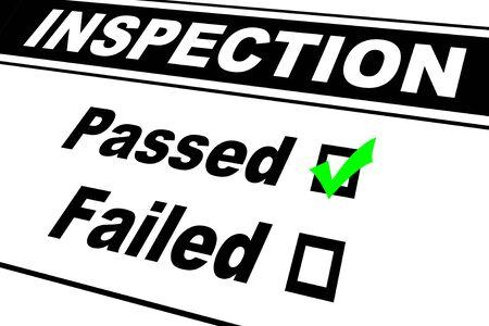 検査レポートの結果が合格に分離された白を選んだと記入