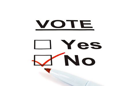 opinion: Yes  No Vote Ballot Form With NO Checked Isolated On White