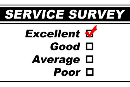 Customer service survey filled out with Excellent chosen isolated on white photo