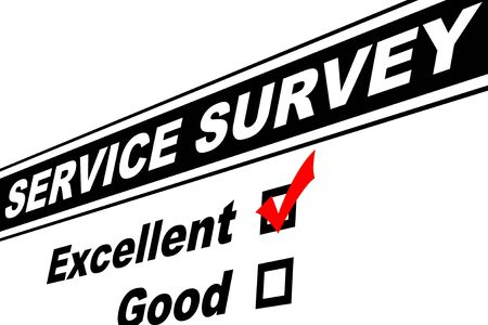 filled out: Customer service survey filled out with Excellent chosen isolated on white