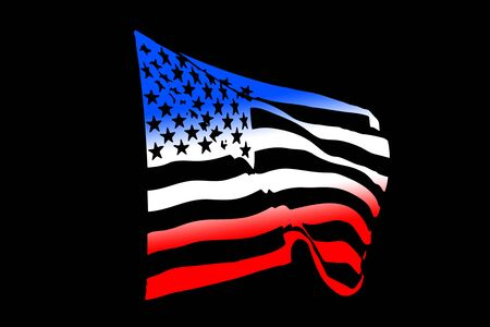 USA flag silhouette waving in the wind isolated on black Archivio Fotografico