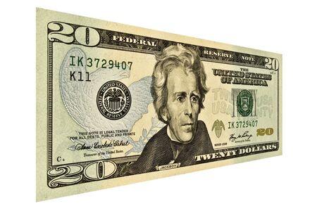 単一 20 米ドル法案上分離白