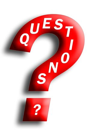 白で隔離疑問符に埋め込まれた質問コンセプト 写真素材