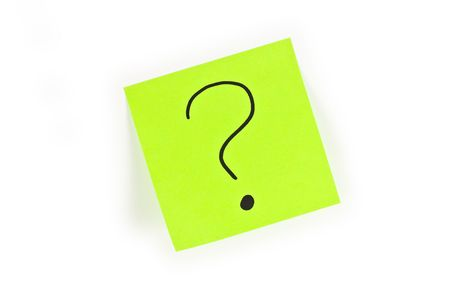it is isolated: Post-it with a question mark written on it isolated on white