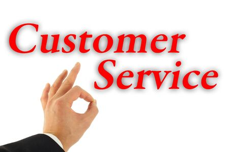 Excellent Customer Service concept with hand okay sign isolated on white
