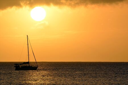 Sailboat Sunset Landscape Over Hawaii Ocean Waters
