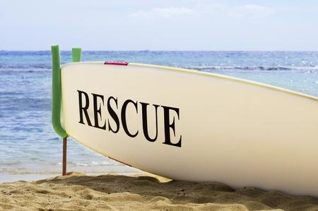 Surf Board Safety Concept on Hawaiian Sandy Beach Stock Photo