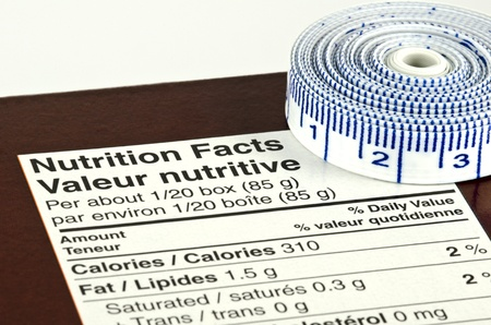 Nutrition Facts and Tape Measure Diet Concept Stock Photo