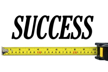 Success Concept with Tape Measure Isolated on White