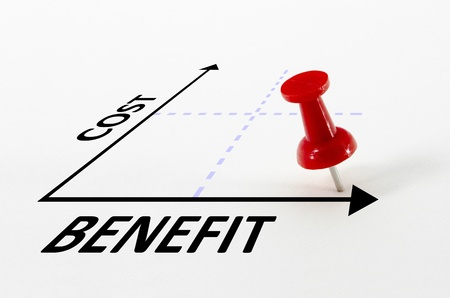 Cost benefit analysis concept on a graph with a thumb nail pin target marker Stok Fotoğraf