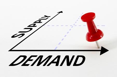 높은 수요와 빨간 푸시 핀 그래프에 낮은 공급 분석 개념