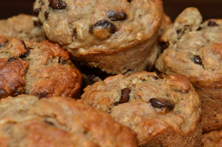 Fresh Delicious Chocolate Chip Muffins Stacked And Close Up